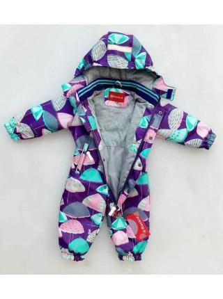 Комбинезон демисезонный мембранный цвет: Зонтики фиолет